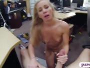 Blond tramp railed by horny pawn man in the back office