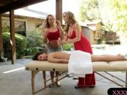 Two hot blonde masseuses give nice massage and make out