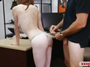 Tight babe banged by nasty pawn dude in the back office