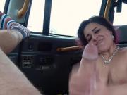 Chubby amateur in boots fucks in fake taxi