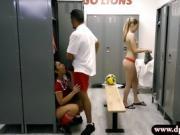 Perky tits teen Mariah fucked by her coach in locker room