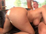 Curvy MILF with big natural tits enjoys a hard fuck