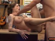 Huge boobs tattooed woman nailed hard by pawn keeper
