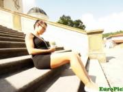 Hot brunette European babe picked up while sight-seeing