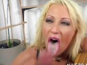 Wild mature darling rides on dude's pecker vigorously