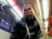 Blonde European chick picked up on subway