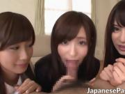 Hot Asain maids Aoi Minami and Moe give a nice blowjob