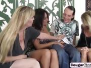 Three dirty cougars sharing long schlong on couch