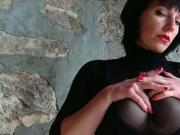 german mistress anett larmann in black pantyhose solo