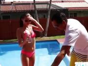 Babe in bikini Carolina fucks instructor
