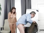 Kissable schoolgirl gets teased and screwed by her elderly in