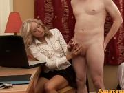 MILF beauty humiliates her slave during CFNM fetish