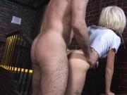 Skinny blonde with huge tits bounces up and down on a cock