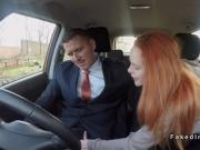 Pale redhead driving student bangs in car