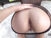 Striking stunner reveals big bum and gets butthole shagged