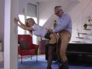 British beauty drilled from behind by horny old man