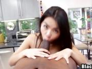 Pov interracial action with alluring Asian babe