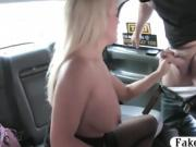 Busty blond passenger sucks off and screwed in the cab