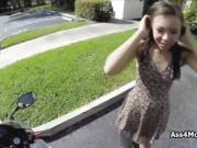 Ebony teen toying on bike then fucking