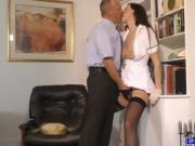 Tall glamouur uniformed milf fingerfucked in living room