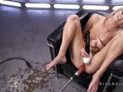 Busty blonde squirting on fucking machine