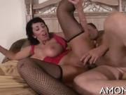 Smoking hot mature gets mercilessly fucked by a skillful dude
