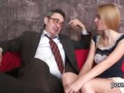 Kissable bookworm gets seduced and pounded by her older teach