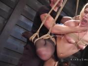 Squating blonde got hard flogged