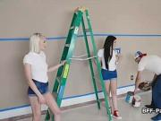 Painters fat cock sucked on foursome pov video
