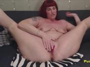 Mature Redhead Slut With Big Tits Squirt From Toying Pussy