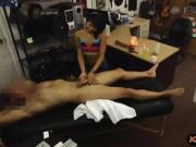 Asian babe gives massage to pawn keeper