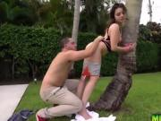 Kylie Quinn tied up in a rough hardcore outdoor sex
