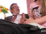 Lovable bookworm is tempted and nailed by her older teacher