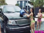 Two naughty chicks wash a car then share a lucky dudes cock