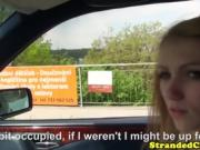 blonde babe fucked outside of car
