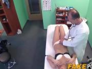 Blonde Nathaly gets licked and railed by corrupt doctor