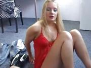 Blonde Dutchie Cute Handjob So Yummy Tugging