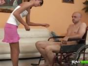 Hot babe having sex with handicapped guy