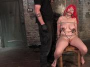 Busty redhead gets dick on a stick up ass