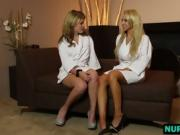 Sasha Heart and Alix Lynx prepare for sensual lesbian sex