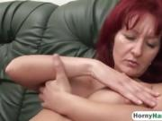 Legless guy fucks hot redhead MILF