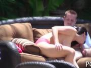 Cute teen girl sucks and rides a dick too big for her