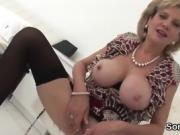 Adulterous english milf lady sonia displays her massive breas