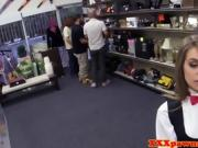 Uniformed pawnshop babe doggystyled for cash