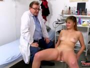 Brunette doctor gaping and cumshot 5