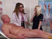 CFNM milf sucks on patients cock with her nurses