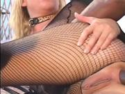 Attractive blonde is anal fucked by meaty black cock