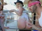 Slutty cowgirls getting fucked by a big dick