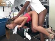 Brunette slut gets banged by black cock in doggy