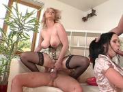 Sexy brunette enjoys a rough double penetration
